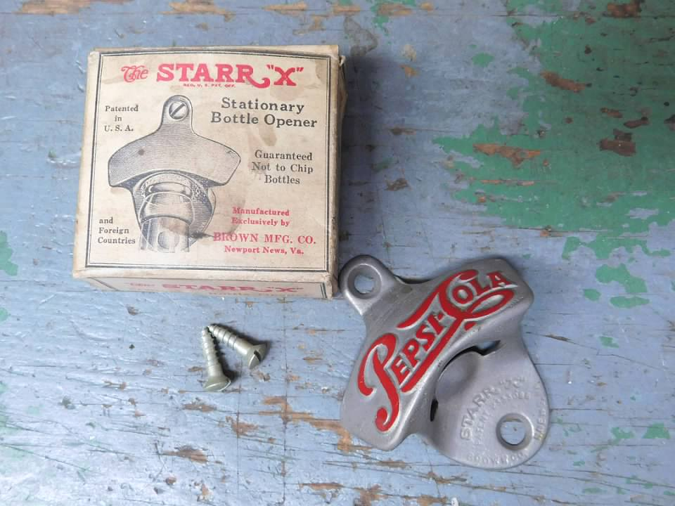 vintage starr x pepsi cola stationary bottle opener w orig box and screws ebay. Black Bedroom Furniture Sets. Home Design Ideas