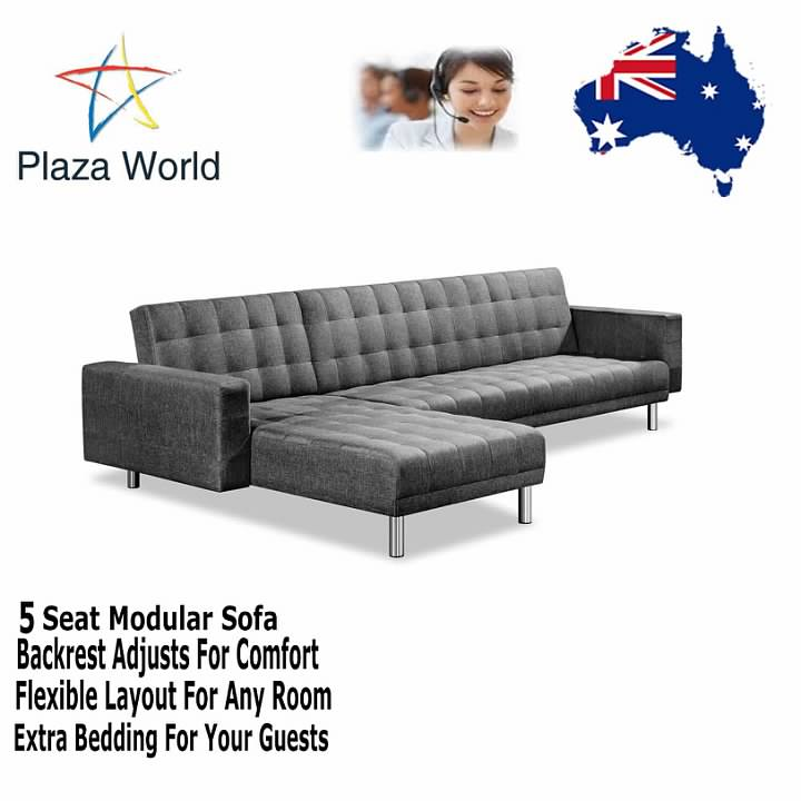 5 Seat Modular Lounge Couch Sofa Bed Faux Linen Removable